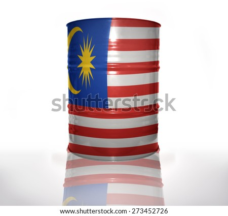barrel with malaysian flag on the white background
