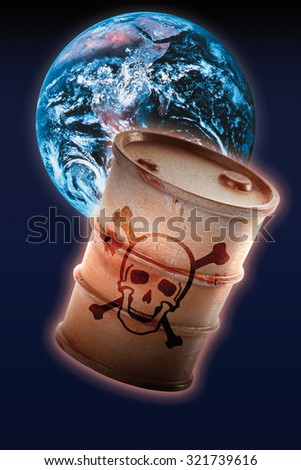 Barrel with signs of skull and crossbones in front of earth - stock photo