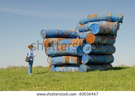 Barrels-Chair on hill in Latvia, Pedvale - stock photo