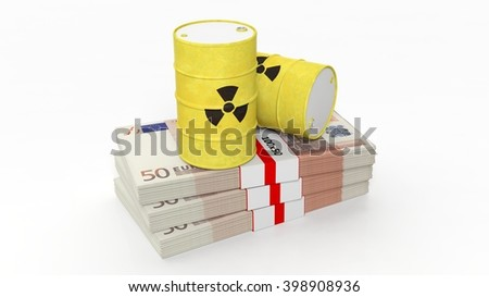 Barrels for radioactive biohazard waste on stacks of euro banknotes, isolated on white background, 3d rendering - stock photo