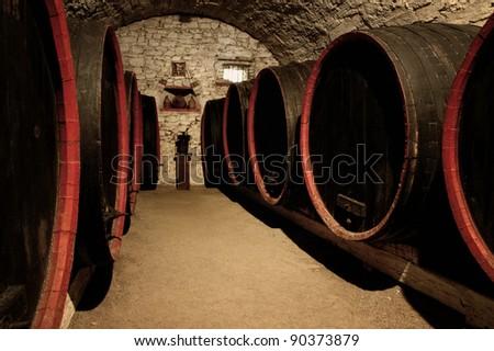 Barrels in a wine-cellar. Transylvania, Romania - stock photo