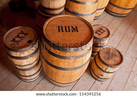 Barrels of liquor - stock photo