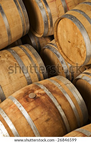 barrels of wine in storage