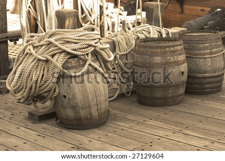 Barrels on the deck of pirates ship - stock photo