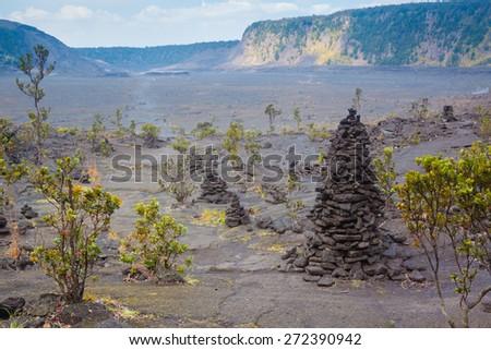 Barren bottom of Kilauea Crater with sulfur gas vents and ohia lehua plants in Hawaii Volcanoes National Park, Big Island, Hawaii - stock photo