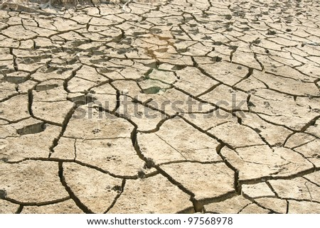 Barren ground. Exposed to ultraviolet light from the sun - stock photo