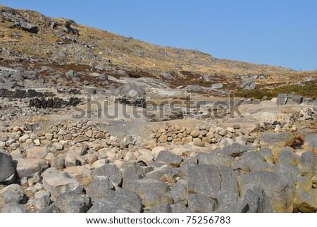 barren landscape in the wicklow hills in ireland - stock photo