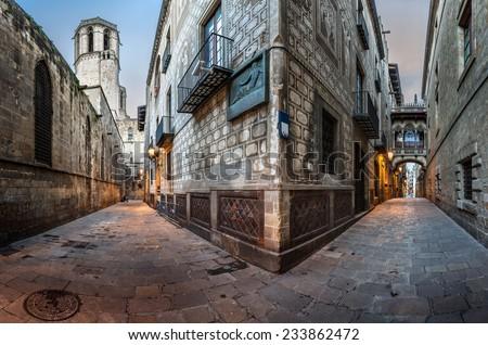 Barri Gothic Quarter and Bridge of Sighs in Barcelona, Catalonia, Spain - stock photo