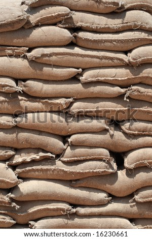 Barricade of heavy sandbags at the military training center - stock photo