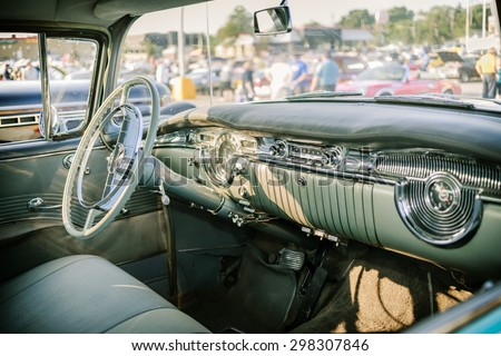Barrie, Ontario, July 11, 2015 cozy  beautiful amazing view of classic retro vintage car cab interior - stock photo