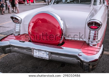 Barrie, Ontario, July 11, 2015 gorgeous  amazing fragment of  rear view of old classic vintage retro car - stock photo