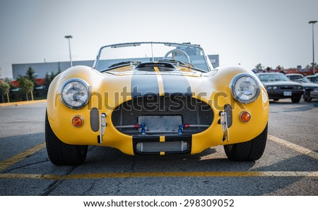 Barrie, Ontario, July 11, 2015 gorgeous beautiful amazing front closeup view of classic retro vintage sport car - stock photo