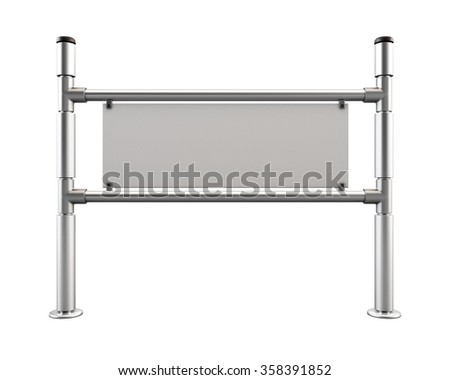 Barrier from chrome pipes with blank information jumper. Partition chrome turnstile isolated on white background. 3d rendering. - stock photo