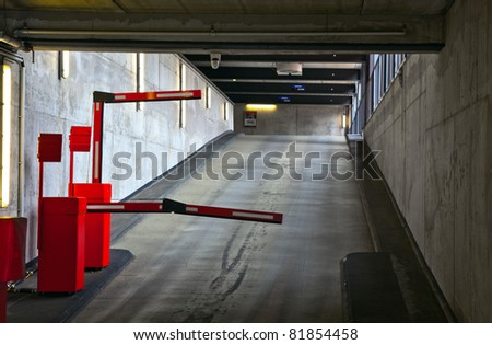 barrier in a car park - stock photo
