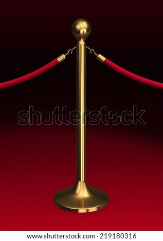 Barrier rope and red background (close-up) - stock photo