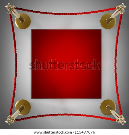 Barrier rope and red box High resolution 3D - stock photo