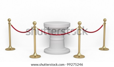 Barrier rope and white base render (isolated on white and clipping path) - stock photo
