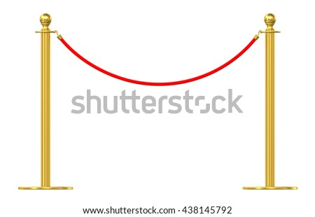 Barrier rope isolated on white background. 3d illustration - stock photo