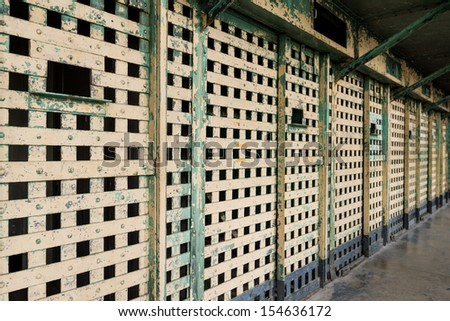 Bars of a prison cell at the Old Idaho State Penitentiary in Boise, Idaho - stock photo