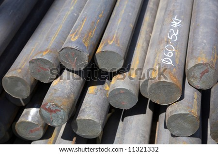 bars of reinforced steel as background - stock photo