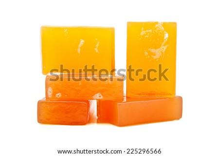 bars of soap on white background - stock photo