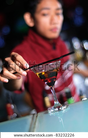 bartender at work - stock photo