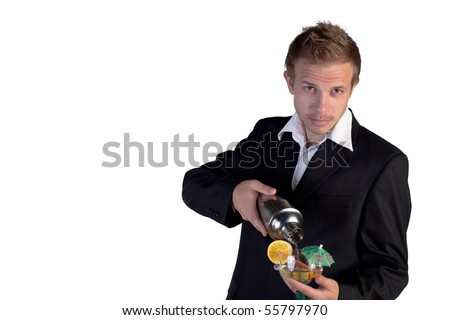 Bartender making cocktail and looking at camera on a white background - stock photo