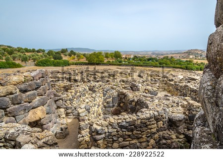 BARUMINI,ITALY - SEPTEMBER 20,2014 - View from Su Nuraxi nuraghe near Barumini in Sardinia.Su Nuraxi is a settlement consisting by a Nuraghe, dating from the seventeenth century BC.