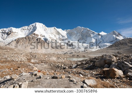 Baruntse Base Camp, Makalu Barun National Park, Nepal - stock photo
