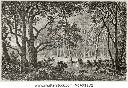 Bas-Breau old view, near Barbizon, Fointainebleau forest, France. Created by Desjobert, published on Le Tour du Monde, Paris, 1867 - stock photo