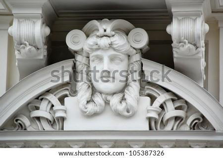 Bas-relief of the art nouveau apartment building in the capital of Latvia Riga - stock photo