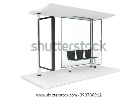 Bas Stop with Empty Billboard on a white background - stock photo