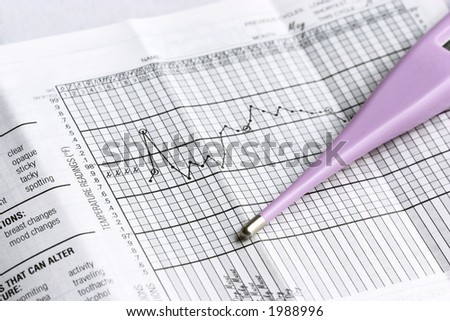 basal thermometer and graphs - stock photo