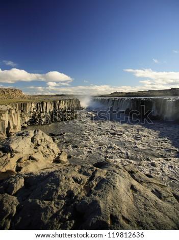 Basalt columns, Dettifoss waterfall Iceland - stock photo