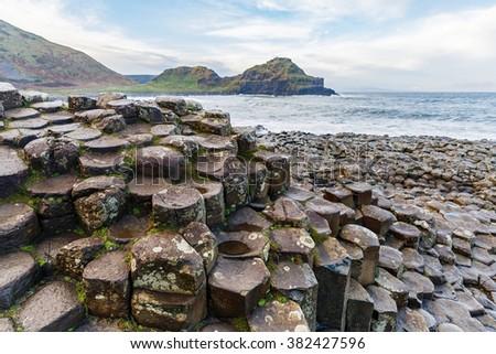 Basalt columns of Giants Causeway in Ireland - stock photo