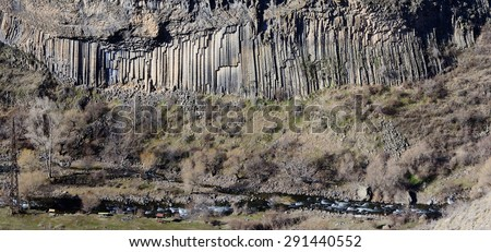 "Basalt columns panorama of Garni gorge,so called ""symphony of the stones"",Armenia,Caucasus mountains, Central Asia"