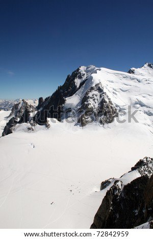 Base Camp for Mountain Climbers in High French Alps - stock photo