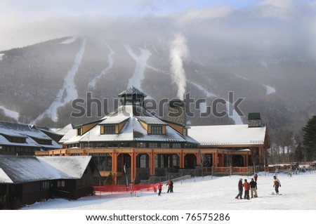 Base ski lodge in Stowe, VT - stock photo