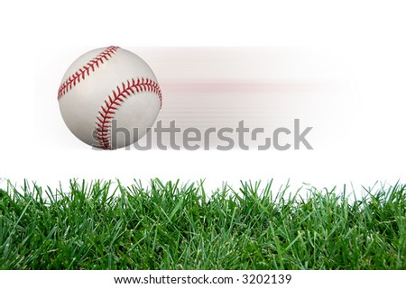 Baseball after impact against white background