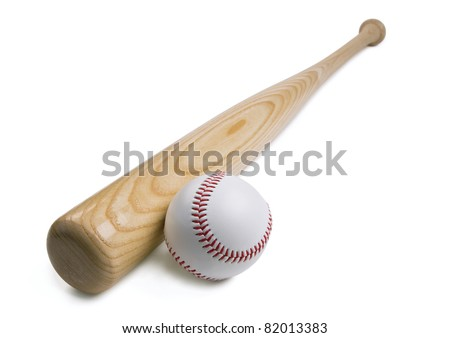 Baseball and baseball bat isolated on white background with clipping path. - stock photo