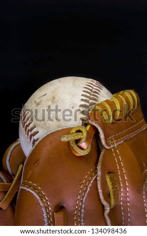 Baseball and Glove with Room for your type. - stock photo
