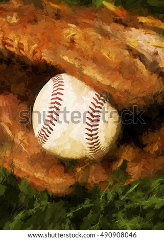 Baseball and mitt in the summer grass transformed into a digital painting