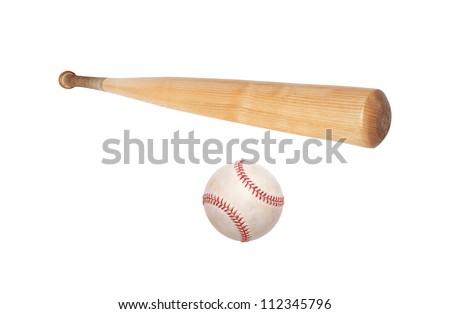 baseball ball and bat isolated on white background - stock photo