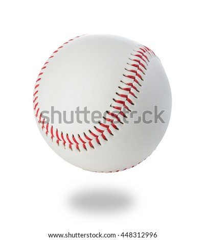 Baseball ball close-up on a white background.