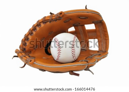 Baseball ball in a trap on a white background.