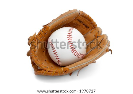 baseball ball in kids/junior sized glove. isolated. - stock photo