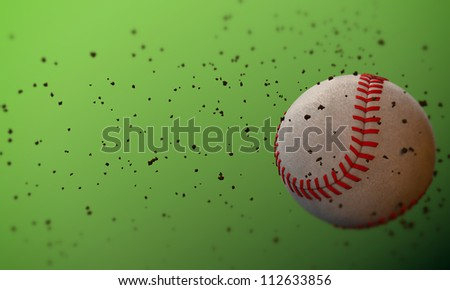 baseball ball isolated on green background - stock photo