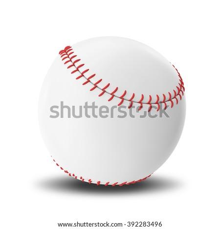 Baseball ball isolated on white background. - stock photo