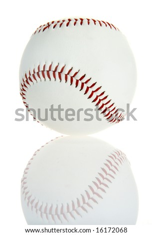 Baseball ball isolated on white background with a reflection - stock photo