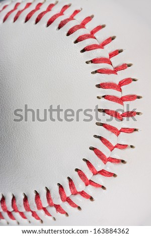 Baseball Ball macro on Stitches suitable as framed background for title text, vertical shot - stock photo